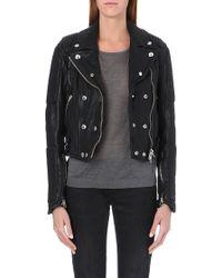 Burberry Loseley Leather Biker Jacket Black - Lyst
