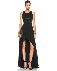 Jay Ahr Fitted Cut Out Viscose-Blend Gown black - Lyst