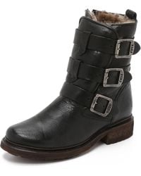 Frye - Valerie Shearling Strappy Boots - Lyst