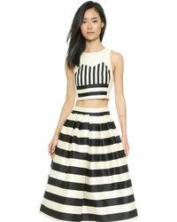 Tibi Escalante Stripe Crop Top - Blackcream Multi - Lyst