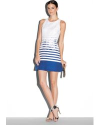 Milly Degrade Tweed Slim Shiftdress blue - Lyst