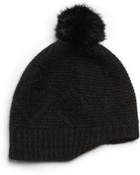Saks Fifth Avenue Black Label Dyed Rabbit Fur Pompom Angorablend Hat - Black