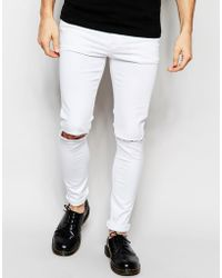 ASOS | Super Skinny Jeans In White With Knee Rips | Lyst