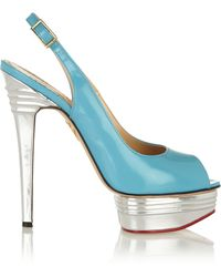 Charlotte Olympia Bon Bon Patent-leather Sandals - Lyst