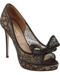 Valentino Couture Bow Lace Pumps - Lyst