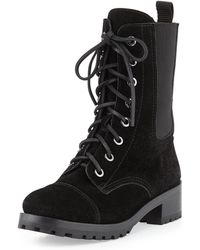 Tory Burch Broome Suede Combat Boot - Lyst