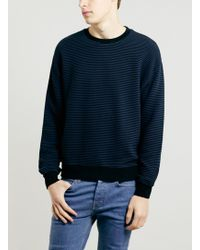 Lac Bk and Navy Rib Textured Sweatshirt - Lyst