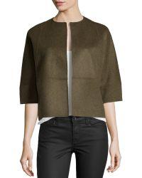 Michael Kors Half-Sleeve Boxy Cropped Jacket - Lyst