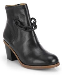 MM6 by Maison Martin Margiela Chain Leather Ankle Boot - Lyst