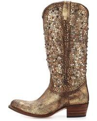 Frye Deborah Studded Tall Western Boot Gold 9b - Lyst