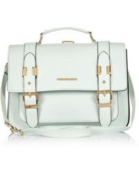 River Island Light Green Large Satchel Bag - Lyst