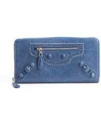 Balenciaga Blue Cobalt Red Leather Arena Continental Wallet - Lyst