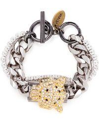 Venna - Crystal Jaguar Head Curb Chain Bracelet - Lyst