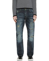 Dolce & Gabbana Indigo Faded And Destroyed Slim Jeans - Lyst