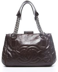 Chanel Brown Distressed Expandable Side Stitch Bag - Lyst