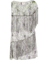 Anna Sui Printed Metallic Silkblend Chiffon Mini Dress - Lyst