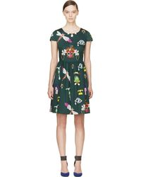 Mary Katrantzou Green Symbol Print Julie Dress - Lyst