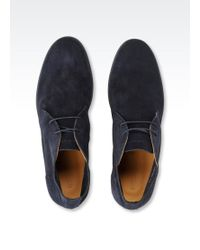 Emporio Armani Suede Desert Boot with Rubber Sole - Blue