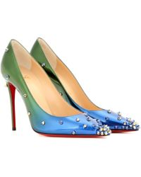 Christian Louboutin - Degraspike Embellished Ombré Leather Court Shoes - Lyst