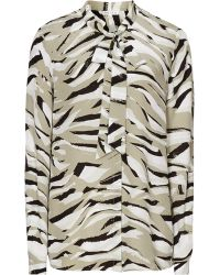 Reiss Julie Print Pussy Bow Blouse animal - Lyst