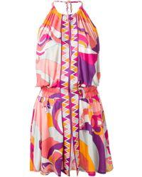 Emilio Pucci Printed Halter Dress - Lyst