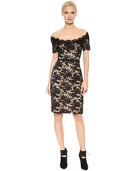 Reem Acra Off Shoulder Lace Sheath Dress Black - Lyst