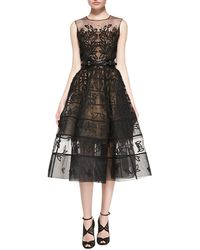 Oscar de la Renta Embroidered Mesh Flare Dress - Lyst