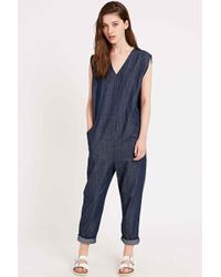 Silence + Noise Exaggerated Denim Jumpsuit In Navy - Blue