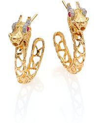 John Hardy | Naga Diamond, Ruby & 18k Yellow Gold Dragon Hoop Earrings/0.6 | Lyst
