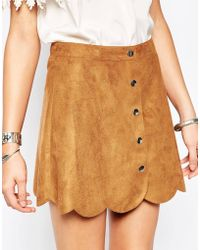 First & I - Suedette Button Through Skirt - Lyst