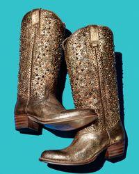 Frye Deborah Studded Tall Western Boot - Metallic