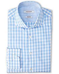 Isaac Mizrahi Blue Slim Fit Gingham Dress Shirt - Lyst