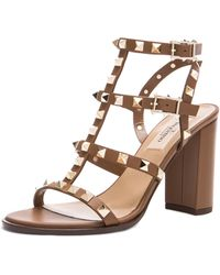 Valentino Rockstud Chunky Leather Heels T.90 - Lyst