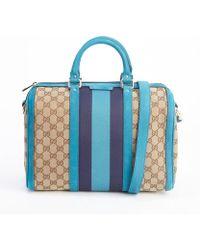 Gucci Bondi Blue Gg Canvas Vintage Web Boston Bag - Lyst