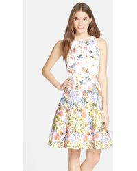 Maggy London Floral Print Sateen Fit & Flare Dress - Lyst