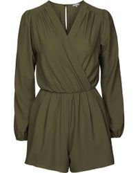 TOPSHOP - Long Sleeve Wrap Playsuit By Love - Lyst