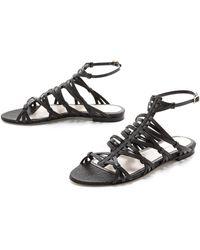 Jason Wu Leather Suede Flat Sandals - Lyst