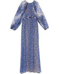 Giambattista Valli Balloon-Sleeve Floral-Print Silk Gown - Lyst