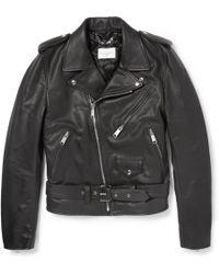 Sandro Slimfit Leather Biker Jacket - Black