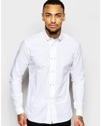 Rogues Of London - Shirt With Metal Tip Buttons In Slim Fit - Lyst