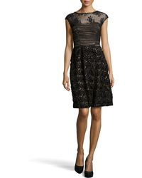 Sue Wong Embroidered Rosette Skirt Cocktail Dress - Lyst