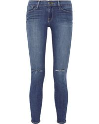 Frame Denim Le Skinny De Jeanne Distressed Mid Rise Jeans - Lyst