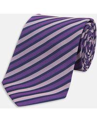 Turnbull & Asser | Slim Tonal Purple Herringbone Stripe Silk Tie | Lyst