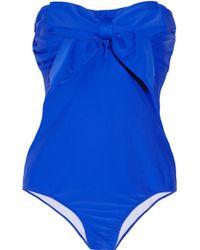 Miu Miu Bowembellished Bandeau Swimsuit - Blue
