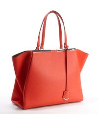Fendi Poppy Leather 3jours Engraved Logo Plate Tote - Lyst