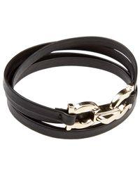 Ferragamo - Double Gancini Clasp Leather Wrap Bracelet - Lyst