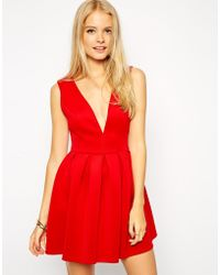 Asos Scuba Skater Dress with Deep Plunge Neck - Lyst
