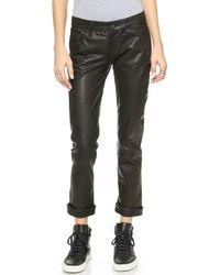 Paige Jimmy Jimmy Crop Leather Pants - Black - Lyst