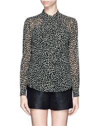 Tory Burch Veta Ruffle Front Georgette Shirt - Lyst