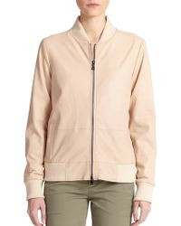Vince Leather Bomber Jacket - Lyst